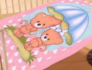 Κουβέρτα Βελουτέ Κούνιας Dimcol Rainy Bears 06