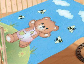 Κουβέρτα Βελουτέ Κούνιας Dimcol Teddy Bear 01