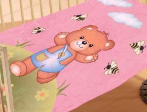 Κουβέρτα Βελουτέ Κούνιας Dimcol Teddy Bear 02