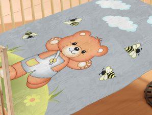 Κουβέρτα Βελουτέ Κούνιας Dimcol Teddy Bear 03