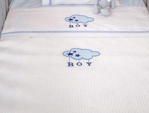Κουβέρτα Πικέ Κούνιας Baby Oliver Blue Cloud 143