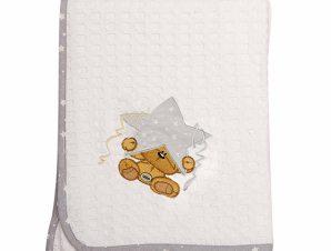 Κουβέρτα Πικέ Κούνιας Dimcol Αστέρι 124 Λευκό/Γκρι