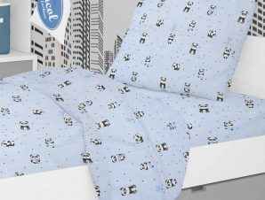 Πάπλωμα Κούνιας Dimcol Panda 110 Sky Blue