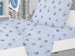 Παπλωματοθήκη Κούνιας Dimcol Panda 110 Sky Blue