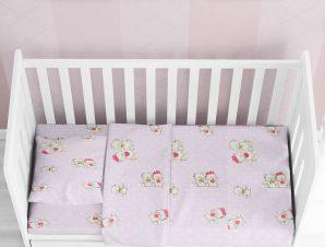 Παπλωματοθήκη Κούνιας Dimcol Two Lovely Bears 65 Lilac