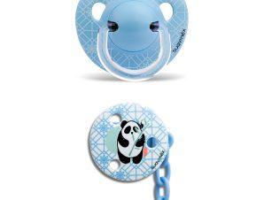 Πιπίλα Σιλικόνης Ανατομική 6-18Μ Με Κλιπ (Σετ) Suavinex Panda Blue