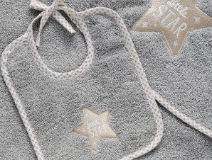 Σαλιάρα Melinen Baby Little Star Grey